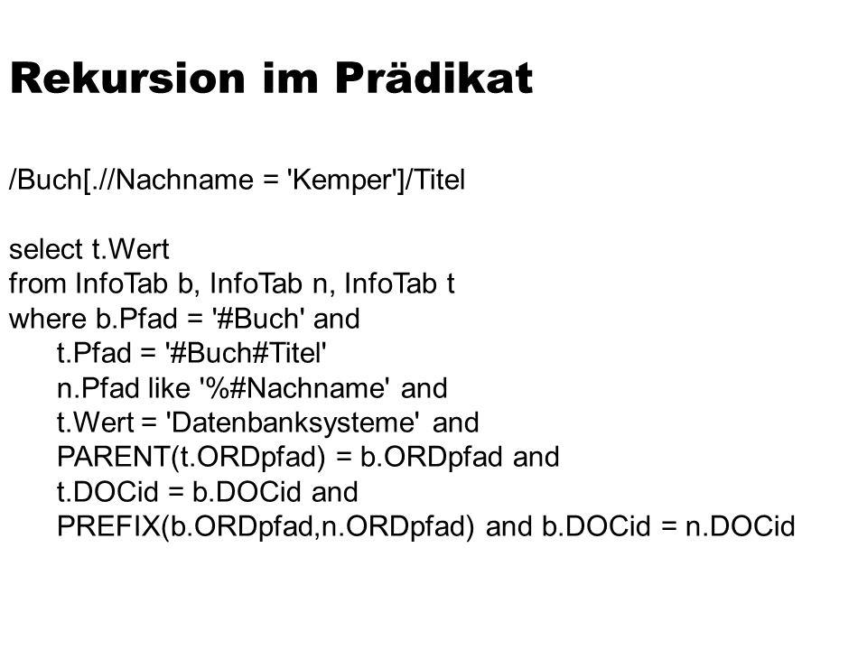 Rekursion im Prädikat /Buch[.//Nachname = Kemper ]/Titel